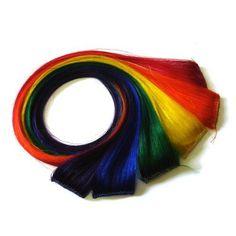 """20"""""""" Clip-In Human Hair Streaks, Rainbow"""