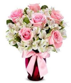 Sweat as Pink ~ This sophistication bouquet arrangement is graceful and elegant. Pink Roses and White Alstroemeria elegantly fill a pink fluted glass vase accented with a pretty pink bow. Flowers Today, Happy Flowers, Pink Flowers, Beautiful Flowers, Flowers Online, Flowers For Everyone, Flowers For You, Rose Lily, Same Day Flower Delivery