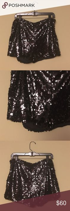 Halston Heritage black sequin mini shorts Brand new sexy shorts perfect for a night out dancing or New Year's Eve party! Halston Heritage Shorts