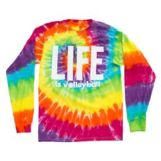 "Our Life Volleyball Long Sleeve Tee Shirt comes in a killer tie dye design with the word ""Life"" hanging big time on the front. When life really is volleyball, then there's not much else to say. All of"