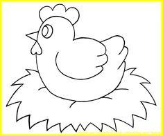 Poule de Pâques sur son nid... à colorier
