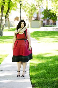 Plus size red and black dress by 'Sometimes Glam'. For more inbetweenie and plus size style ideas go to www.dressingup.co.nz