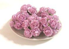 50 PCS LIGHT PURPLE MULBERRY PAPER ROSES FLOWERS HANDMADE LOVE CARD WEDDING 15mm #handmade