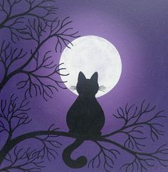 Black Cat in the Moonlight Painting by konyskiw on Etsy, £35.00