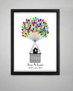 Fingerprint Hot Air Balloon Wedding Guest Book by thepenciltree