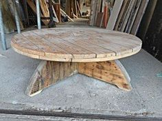 Small Handmade Wooden Cable Reel Coffee Table by StAlbansWRP, £125