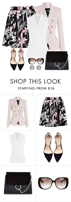 """Untitled #1072"" by gallant81 ❤ liked on Polyvore featuring Balmain, Velvet, Zara, Chloé, Gucci and DANNIJO"