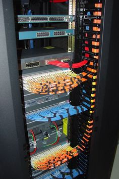 Beautiful, sexy cable management. #Cables #Servers #Rack #Fiber #Switches #Firewall #Copper #Velcro #Sexy #OCD