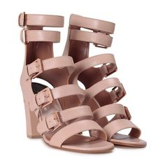 LAURENCE DACADE Dana multi buckle leather sandal (17.615 CZK) ❤ liked on Polyvore featuring shoes, sandals, heels, nude, leather sole shoes, leather sole sandals, leather heeled sandals, buckle shoes and leather footwear
