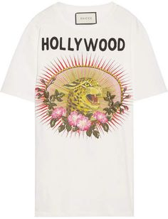 Presenting GUCCI Hollywood Leopard Appliquéd Distressed Printed Cotton-Jersey T-shirt. This appliquéd cotton-jersey style is printed with a leopard at the front and lightning bolt at the. Gucci Tee, Gucci Shirts, Gucci Gucci, Logo Tee, Hollywood Forever Cemetery, University Style, Gucci Shoulder Bag, Slim Pants, Printed Cotton