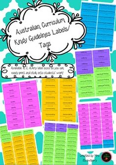 This package includes the Australian Curriculum Kindergarten Guidelines (WA) in label format.Each Curriculum guideline has been placed into a bright, colourful Avery label template.These are perfect for student learning journals, portfolios and work samples, so parents can see which outcomes have been covered.You can choose to print, cut and glue these labels onto your students work, or you can print them onto Avery labels to use as stickers!