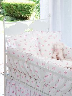 Lovable 21 Baby - Wrap your little bundle of joy in a world of tender loving care. This irresistible collection is made of 100% Italian cotton and includes duvet covers, fitted crib sheets, baby shams, bumper pads and dust ruffles. Precious tiny hearts in Pink or Blue adorn each item to comfort and pamper the most important member of your family.  #Bedding #BedLinen #Sheets #DuvetCover #PillowShams #SchweitzerLinen #Luxury