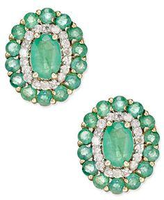 ) and Diamond ct.) Oval Floral Earrings in Gold - Green Clean Gold Jewelry, 14k Gold Jewelry, Keep Jewelry, Diamond Jewelry, Gemstone Jewelry, Jewlery, Turquoise Bracelet, Vintage Jewelry, Beaded Bracelets