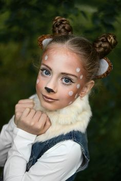 113 easy halloween makeup ideas to try – page 1 Holloween Costumes For Kids, Deer Halloween Costumes, Carnival Costumes, Halloween Make Up, Deer Costume Makeup, Deer Halloween Makeup, Reindeer Makeup, Deer Face Paint, Kids Makeup