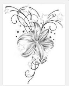 Flower and stars tattoo design