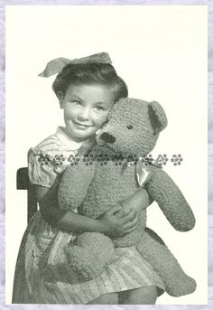 """Vintage 1940's Knitting Pattern to make a Large 24"""" Traditional Teddy bear Stuffed Soft Plush Toy by A PDF Immediate Digital Download"""