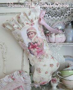 shabby chic christmas | Shabby Chic / victorian Christmas stocking