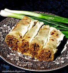 Lettuja, jauhelihalla täytettynä Spanakopita, Crepes, Lasagna, Good Food, Food And Drink, Cooking, Ethnic Recipes, Koti, Interesting Recipes