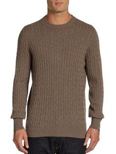 brunello cucinelli CASHMERE | Brunello Cucinelli Cableknit Cashmere Sweater in Brown for Men