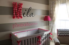 Project Nursery - Cherry Blossom Gray Girl Nursery Monogrammed Wall and Stripes
