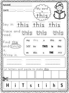 Sight Word Flashcards, Sight Word Worksheets, Nouns Worksheet, School Worksheets, Teaching Special Education, Teacher Education, Teacher Tools, Kindergarten Anchor Charts, Kindergarten Prep