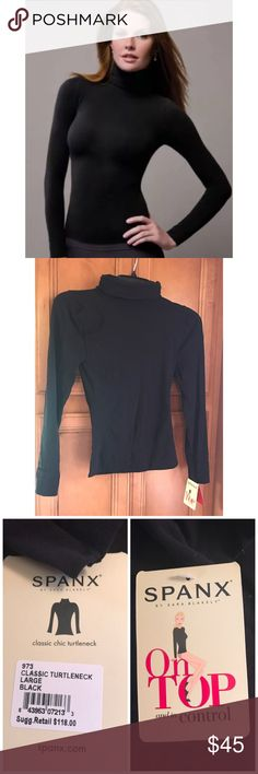 Spanx ON Top & IN Control Black Turtleneck Top Long Sleeve TURTLE Neck Model # 977   Color: BLACK Retails for $118   On Top and In Control show off your shape and can be worn with everything from jeans to high-waisted skirts! This versatile fashion staple instantly takes your look from so-so to so-fabulous! Shaping compression zones you can't see, but results you can! Ultra-comfortable composition moves with you  Single-layer smoothing contours to your body Soft yarns are lightweight and…