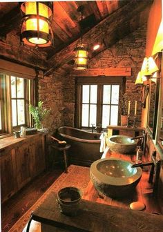 Dreaming of this cabin bathroom!