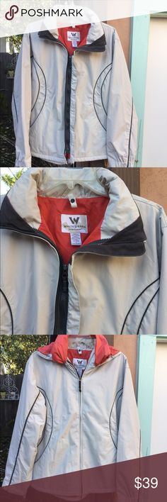 White Sierra rain, snow, ski jacket w rolled hood This outdoor Wear has 2 front zippers for wearing with or without hood, top of the line made to stay dry w Adj cuffs, neck covers over Velcro to not scratch..top of the line jacket White Sierra Jackets & Coats Utility Jackets