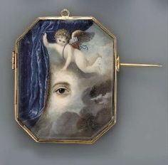 CONTINENTAL SCHOOL, CIRCA 1820 , A putto flying amongst the clouds, holding an open blue curtain revealing a right eye with brown iris Eye Jewelry, Enamel Jewelry, Jewelry Art, Jewellery, Victorian Jewelry, Antique Jewelry, Vintage Jewelry, Memento Mori, Art Nouveau