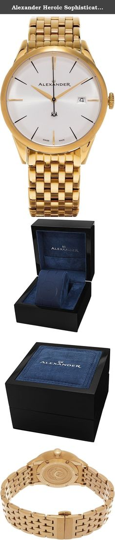 Alexander Heroic Sophisticate Bracelet Wrist Watch For Men - Silver White Dial Date Analog Swiss Watch - Stainless Steel Plated Yellow Gold Watch - Mens Designer Watch A911B-08. Alexander Story: Alexander was the pupil of the storied Greek philosopher Aristotle. He was intelligent, quick to learn and extremely well read. His personality defined charisma, and his obsession with success allowed him to conquer most of the known world at the time. He left a significant legacy beyond his...