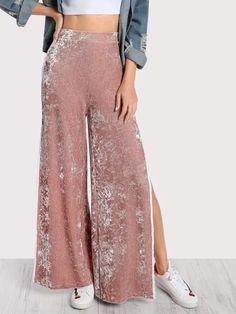 d2703a57ca8 Elasticized Waist Velvet Pants -SheIn(Sheinside) Pantalones De Terciopelo