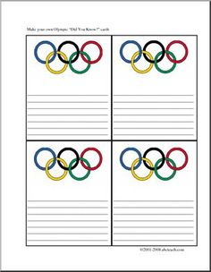 "Did You Know? Olympics (color) - Four printable cards with colorful ""Olympic rings"" graphics for writing facts about the Olympics."