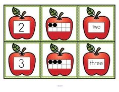 ***FREE***  This is a set of number cards with an apple theme, 0-10. Three cards for each number - the number, a ten-frame representation, and the number word. Use for recognition, sequence, memory games, hiding and finding games, and of course, matching.  6 pages