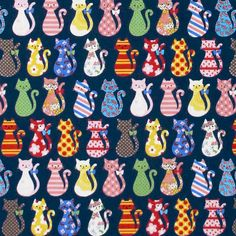 Kokka COLORFUL CATS Navy Japanese import Oxford by fabricdivas