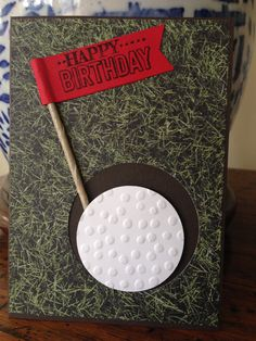 Stampin' up male birthday card SAB 2015 adventure bound DSP decorative dots embossing folder