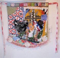 NAUTICAL APRON Lagenlook Recycled Fabrics COLLAGE Wear Art