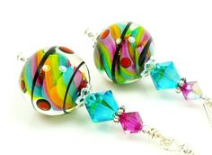 Lampwork Earrings, Glass Earrings, Teal Blue Hot Pink Bright Orange Lime Green Sterling Earrings   $29 BeadzandMore