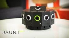 The Jaunt VR is essentially a ring of cameras complimented by a binaural mic, set atop a base that can be attached to a mount. Jaunt is using a proprietary stitching algorithm to achieve the 3D video capture. http://nofilmschool.com/2014/08/future-of-filmmaking-with-jaunt-vr-oculus-rift/