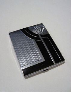 Cigarette Case deco black & silver sleek (please follow minkshmink on pinterest)