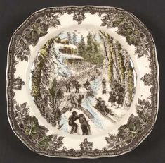 Square Accent Salad Plate in the Friendly Village, The-Christmas pattern by Johnson Brothers
