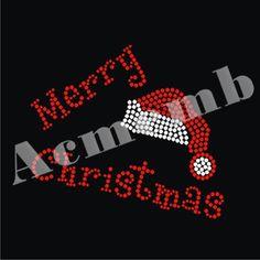 Crystal Rhinestone Christmas Iron On Transfers Xmas Motif