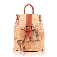 Hot sale 2014 New Yellow Map Print Medium Drawstring Zip Women Leather Backpack Travel Bags School Backpack mochila sac dos $39.99