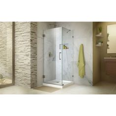 DreamLine Unidoor Lux 30 in. W x 30 in. D x 72 in. H Fully Frameless Hinged Shower Enclosure with Support Arm (Chrome Finish), Grey Bathroom Shower Doors, Frameless Shower Doors, Shower Base, Walk In Shower, Corner Shower Enclosures, Glass Installation, Small Showers, Custom Glass, Types Of Doors