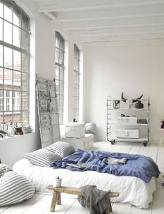 We're taking it back to basics with a mattress on the floor and things never looked better How to work this look Opt for luxurious linen that completely covers any hint of mattress Create some height with Euro cushions and throw pillows Add a pop of colour with a throw Anchor the bed with a …: