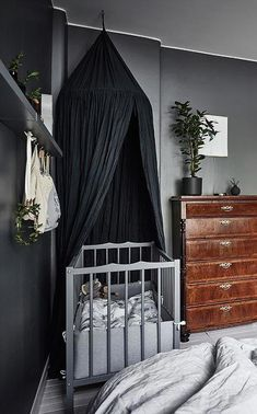 Ideas for Decorating a Dark Bedroom Baby Bedroom, Girls Bedroom, Bedroom Decor, Bedrooms, Dark Nursery, Brighten Room, Goth Baby, Loft, Kids Decor