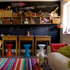 play room/kid space ideas, links, colors etc.-specifically, chalkboard wall, colored striped rug, baskets