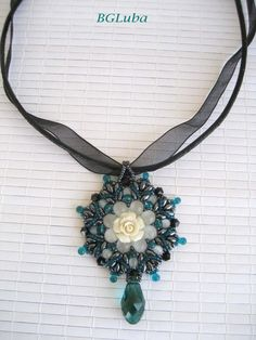 Pendant Superduo BeadworkHematite by BeautyGlamourLuba on Etsy, $52.00