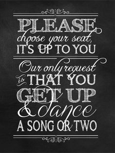 """Wedding Ceremony """"No Seating Plan/Get Up and Dance"""" Sign, INSTANT DOWNLOAD, 18""""x24"""", Printable, DIY, Sign, Seating Plan, Chalkboard, Vintage..."""