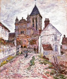 Landscape art Church at Vetheuil Claude Monet French Impressionism Oil painting Canvas hand painted High quality Pierre Auguste Renoir, Pierre Bonnard, Edouard Manet, Claude Monet, Camille Pissarro, Edgar Degas, Paul Cezanne, Monet Paintings, Landscape Paintings