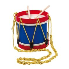 This smart wooden marching band drum is brightly coloured with a blue centre, red trim and gold cord. The marching band drum comes with two wooden drumsticks. Marching Drum, Book Character Costumes, Instruments, Drum Music, Drum Major, Drummer Boy, Musical Toys, Happy House, Dogs And Kids